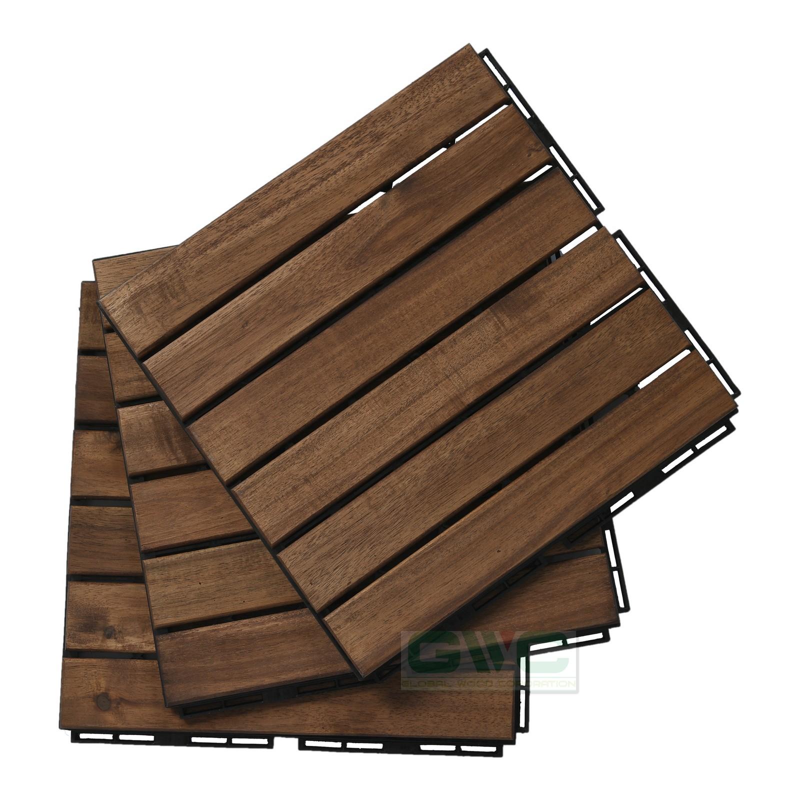 Acacia Wood interlocking Deck Tile 6 slats