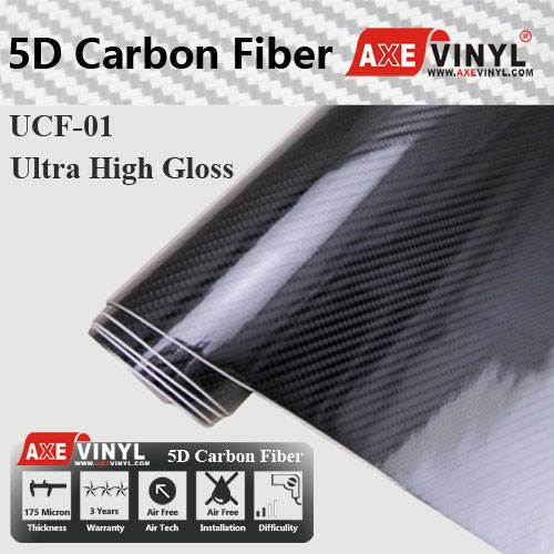 Axevinyl Factory Direct Sale Car Wrap Vinyl Ultra Gloss 5D Carbon Fiber Wrap Vinyl 1.52X20m