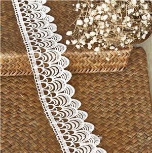 Fashionable design Korea white polyester guipure ribbon lace trim