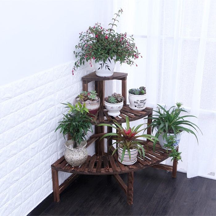 Solid wood shelf flower pots corner flower racks