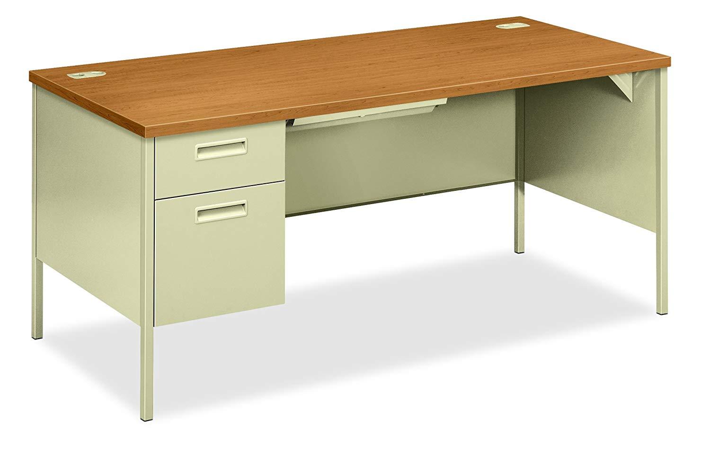 "HON Metro Classic Laminate Office Desk - Left Pedestal Desk with File Drawer, 66""W, Harvest/Putty"