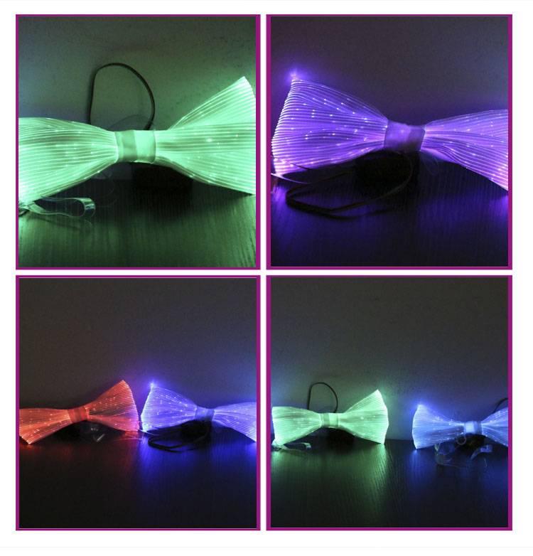 The light up luminous fiber optic LED 2016 fashion bow tie