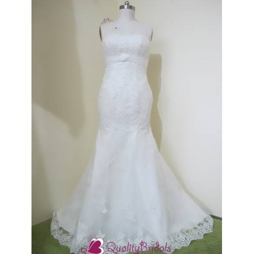 WEDDING DRESS MERMAID STYLE SWEEP TRAIN ZIPPER BACK WITH A MATCHED JACKET W2410