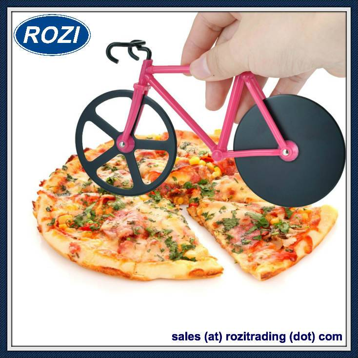 Pizza Cutter Bike Dual Stainless Steel Non-Stick Cutting Wheels Display Stand