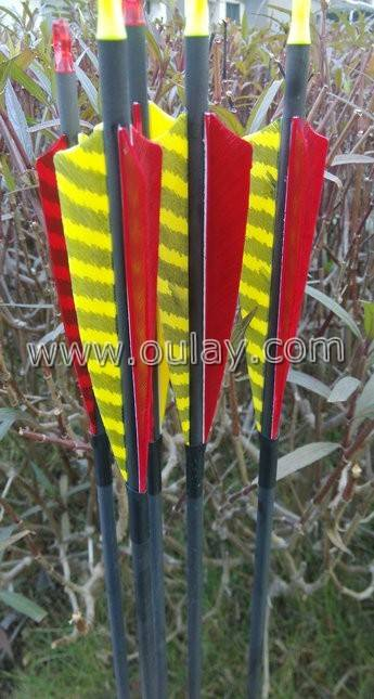 pure carbon arrows with turkey fletchings or plastic vanes