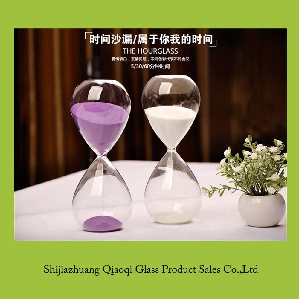Transparent glass hourglass