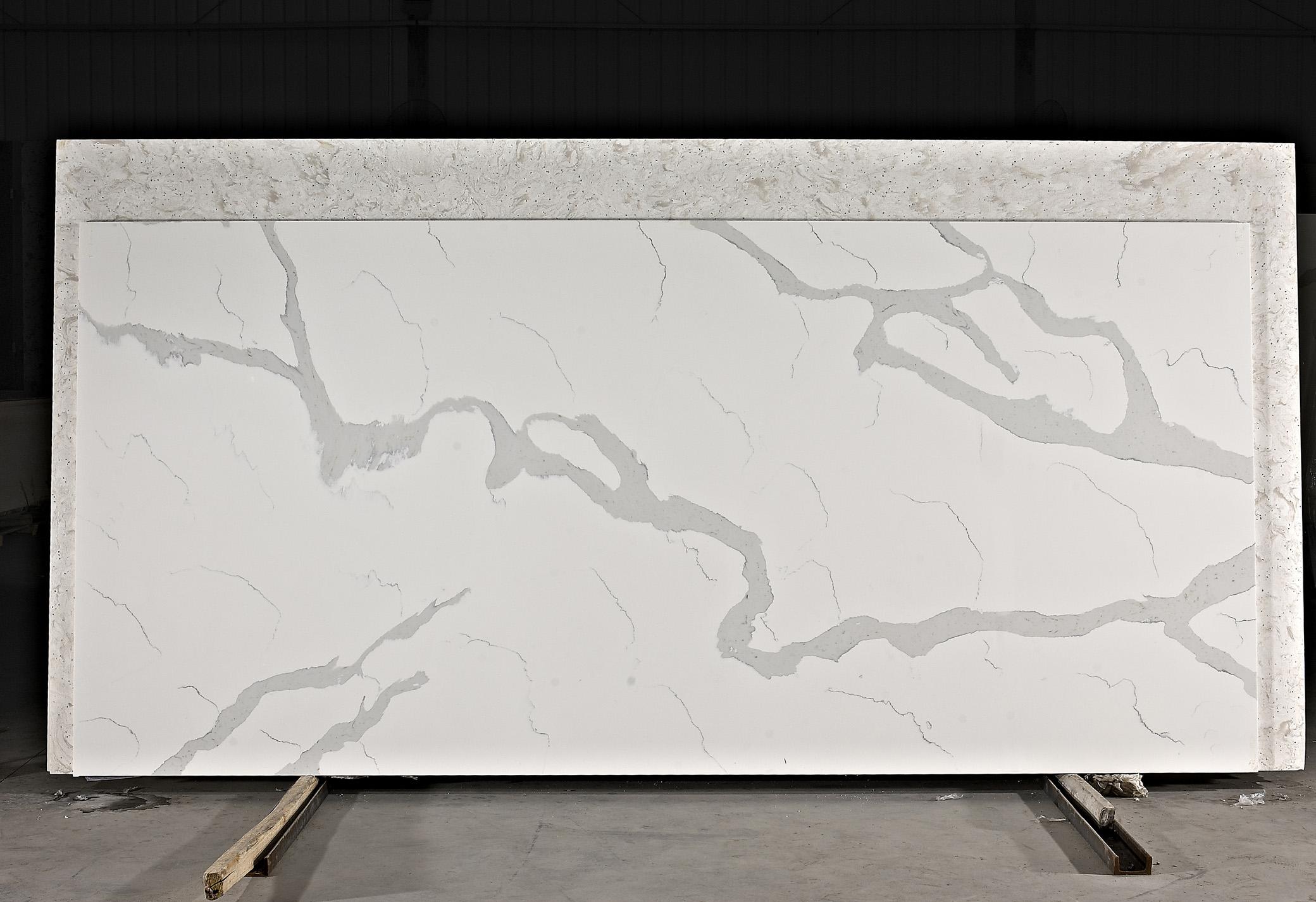 new calacutta white glass stone surface slab