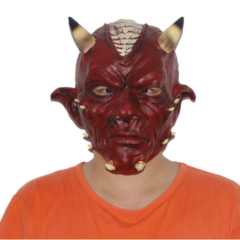 X-MERRY TOY Halloween Mask Deluxe Red Devil Horror Party Full Head Latex Mask