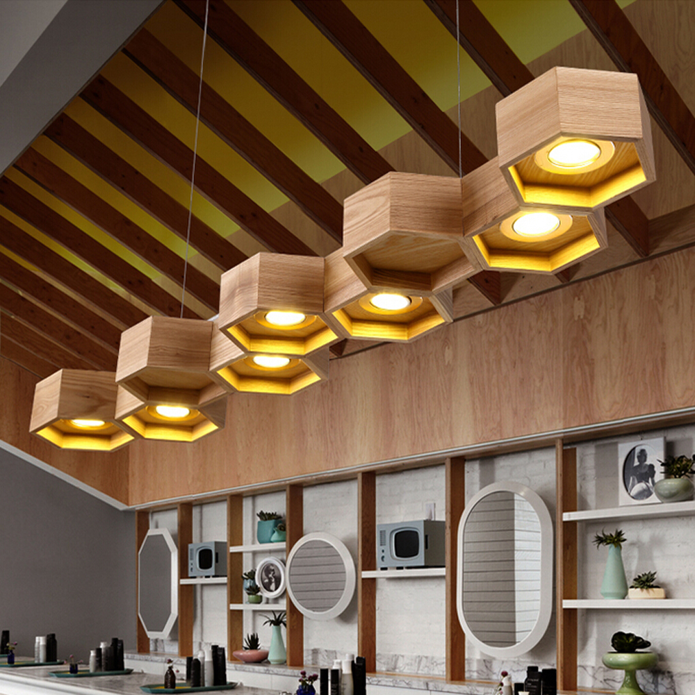 Modern Wooden Pendant Lighting With Metal Shade Chandelier Lights