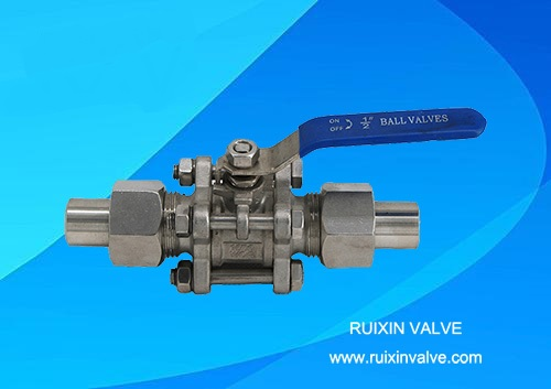 China 3-PC Ball valve with Union Weldings/Connector stainless steel ball valve