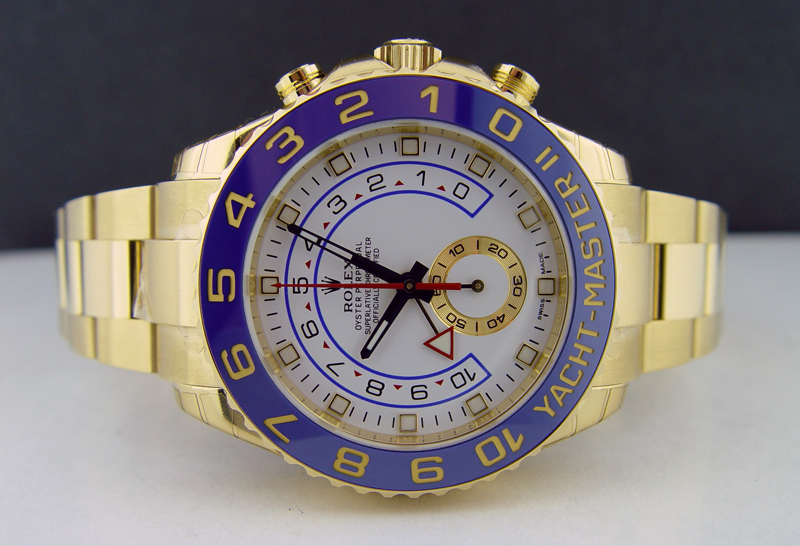 New Rolex YACHTMASTER II 116688 Mens 18K Yellow Gold Ceramic Bezel Blue Hands 44MM Luxury Watch