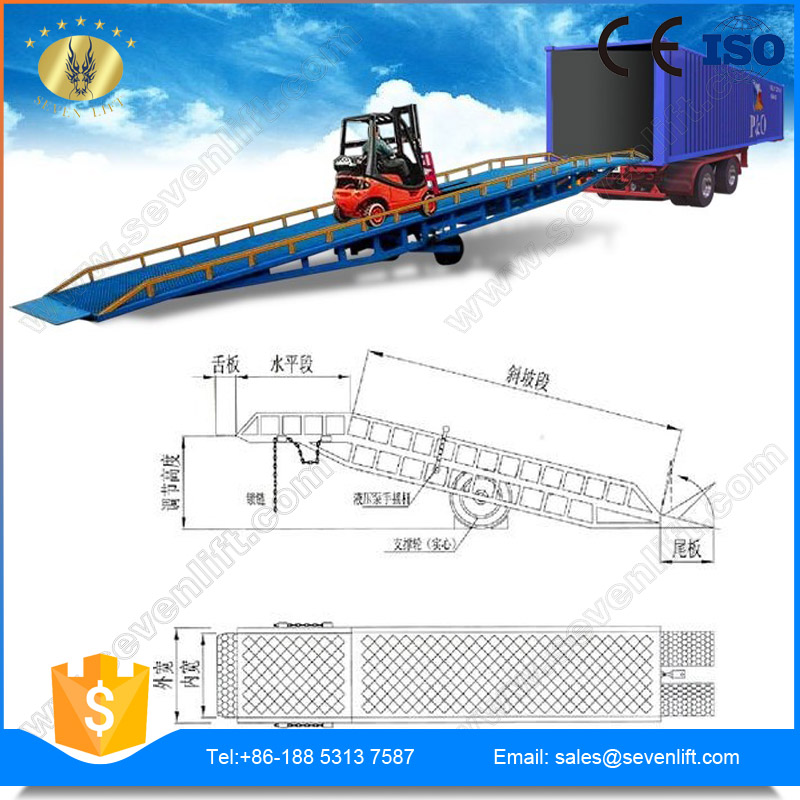 7LYQ Shandong SevenLift steel mobile forklift yard ramp for container unloading