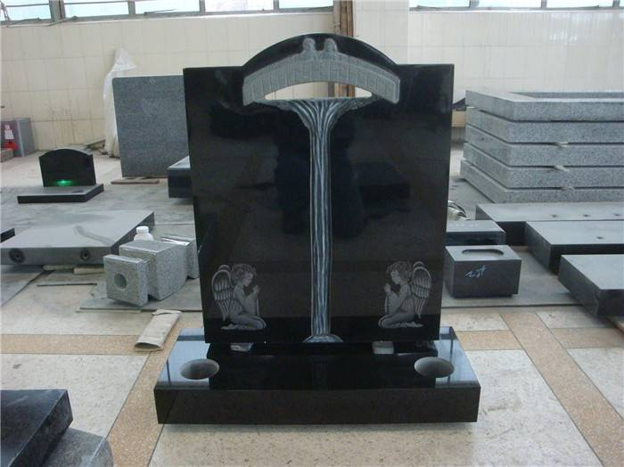 Polished headstone black monument granite tombstone for grave