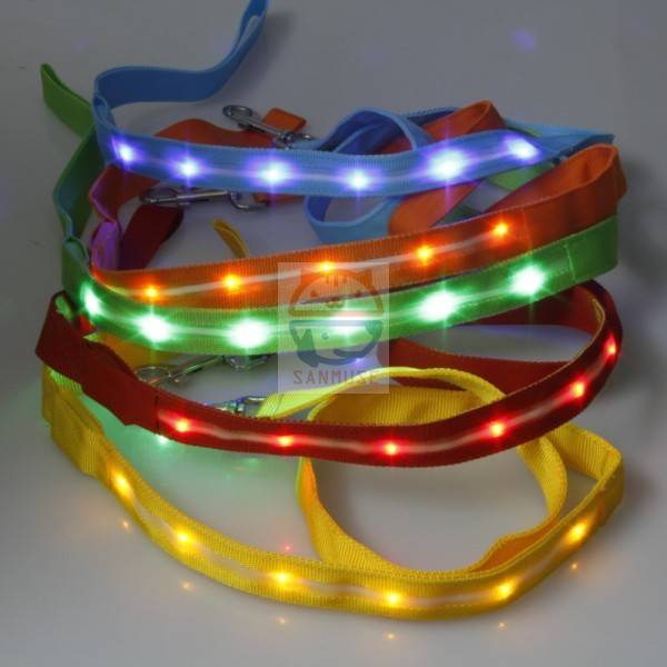 2016 hot sale Glowing LED Dog Collar leashes, led trip Flashing Dog Collar leashes, Led Dog Leashes
