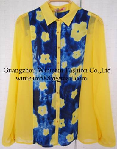 2014 lady fashion wholesale flower print chiffon shirt with button-front on sales