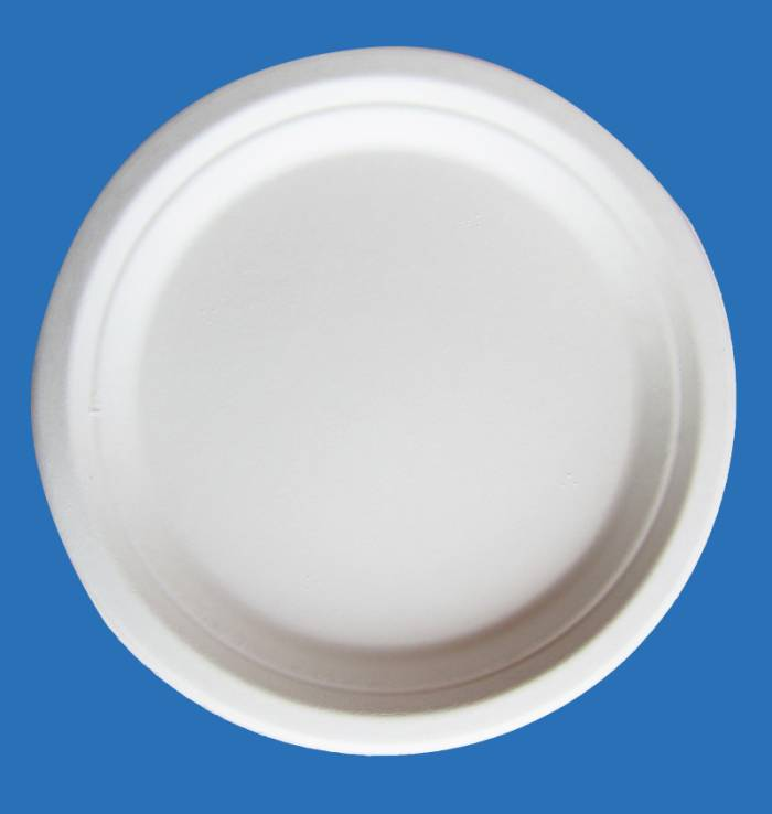 Bleached 9 inch round diposable bagasse paper plates