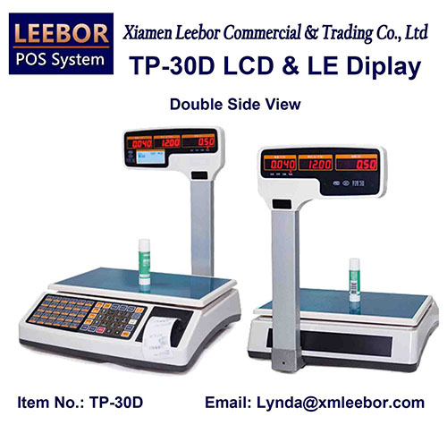 Digital Cash Register Retail Scale, Supermarket Pricing Multi-language LCD Display Weighing System