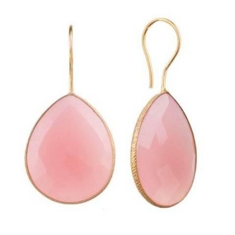 925 sterling silver Pink Chalcedony Gemstone Earring-Vermeil Gold