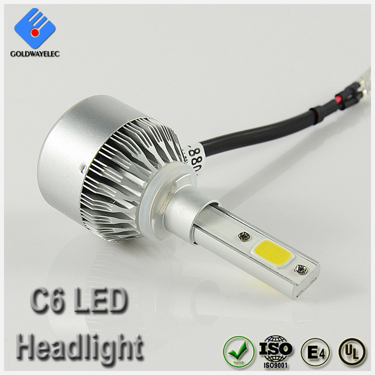 Full aluminum 12v cob chip ip67 3800lm 36w c6 880 led headlight