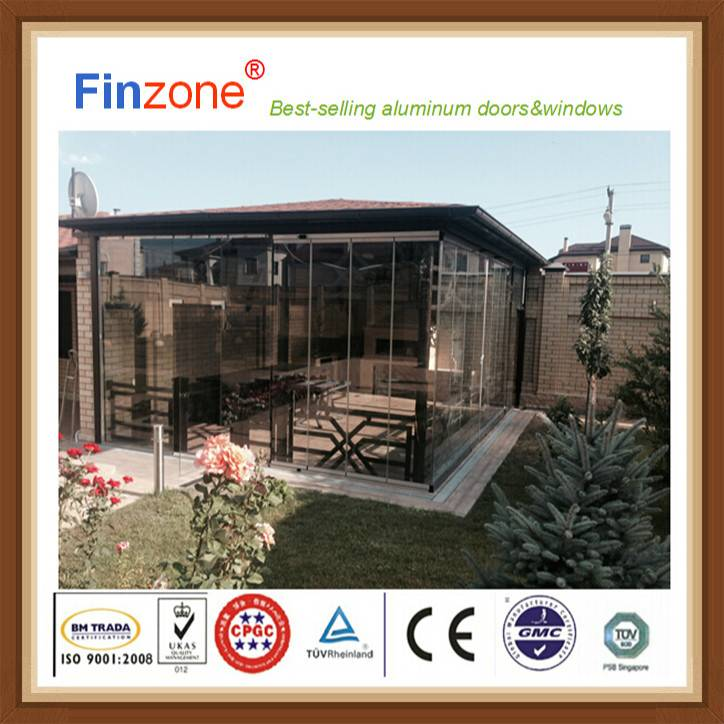 2016 new frameless terrace glazing aluminum window