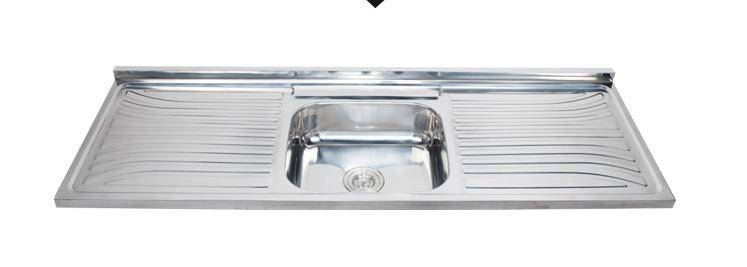 1.5m length rectangular single bowl kitchen sink with drainboard ISO9001:2000