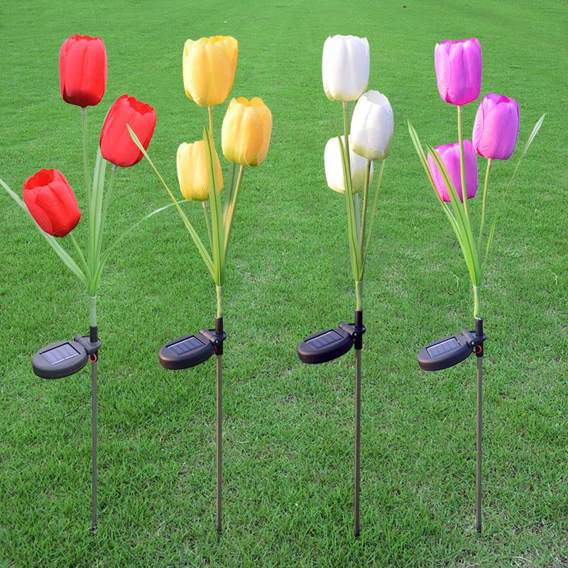 3 Branch solar tulip light LED solar flower light
