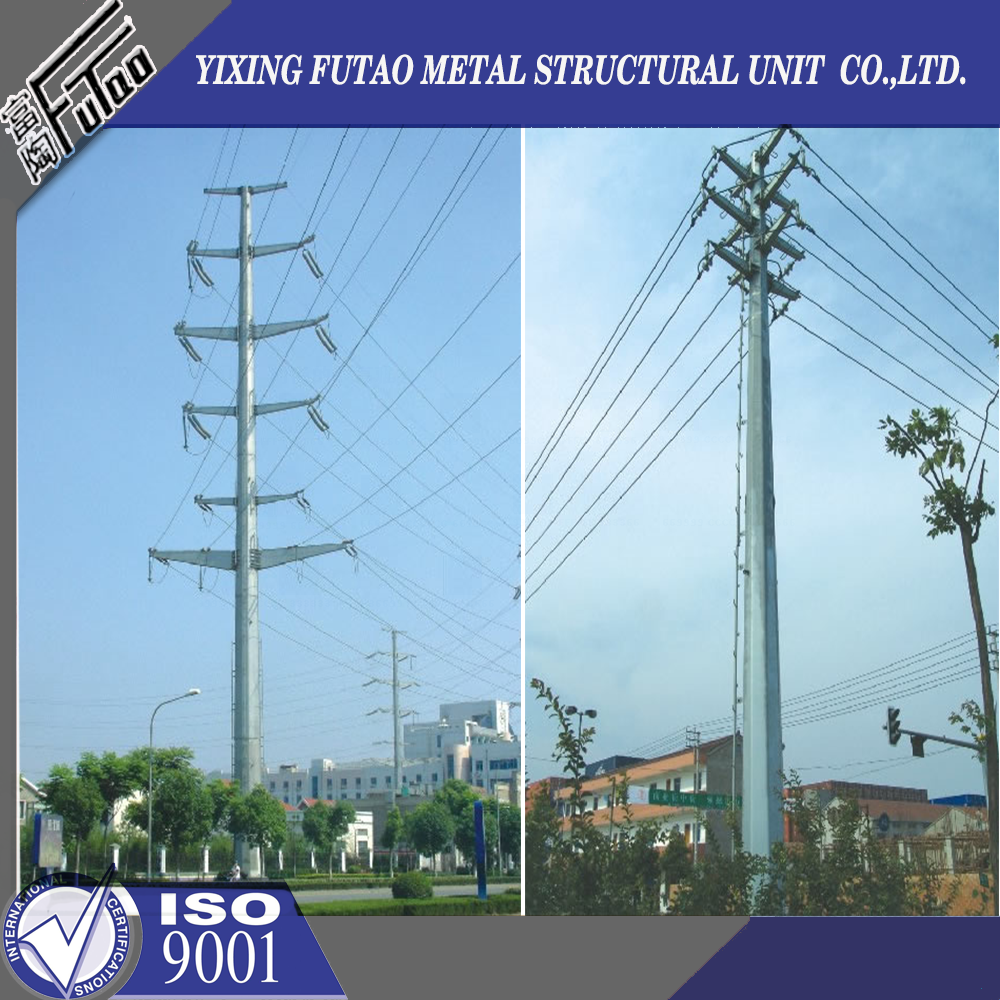 galvanized two-wire circuit angle electrical pole