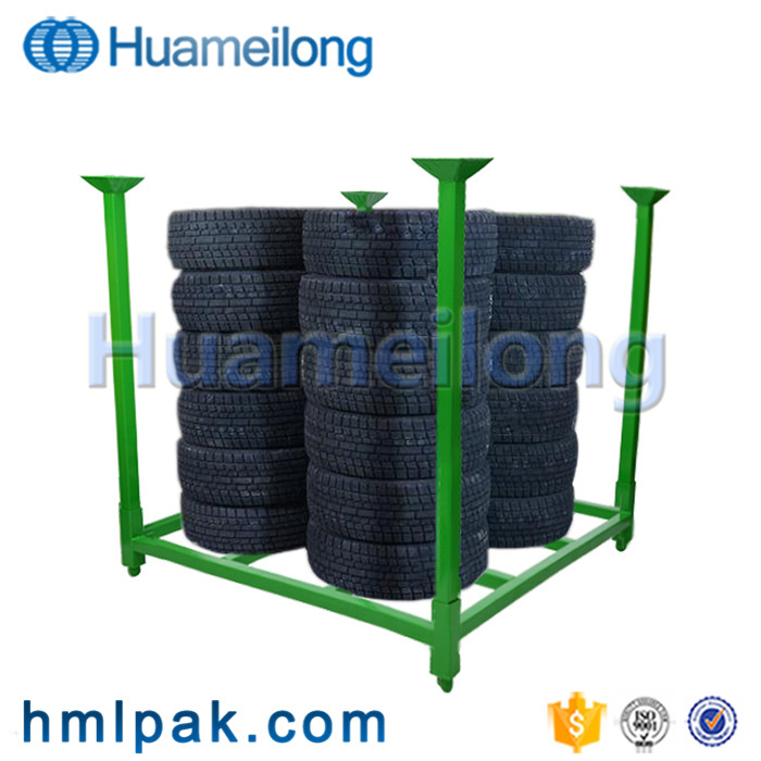 High quality adjustable portable stacking warehouse metal storage tire rack for sale