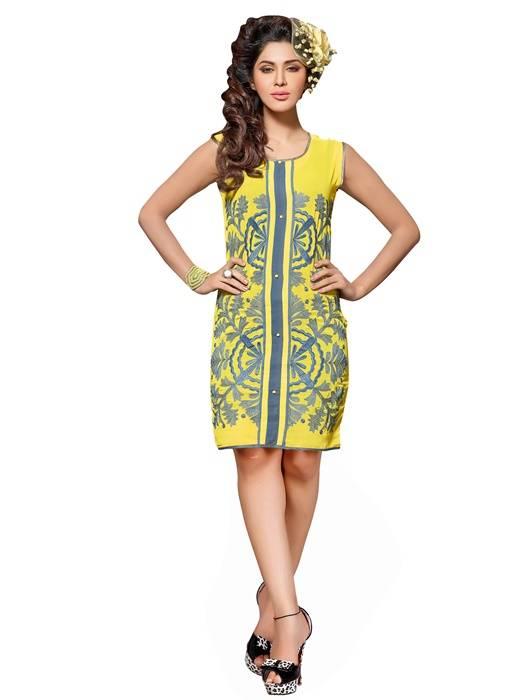 Shonaya Yellow Colour  Embroidered Georgette Stitched Kurti  MFHNR-60003