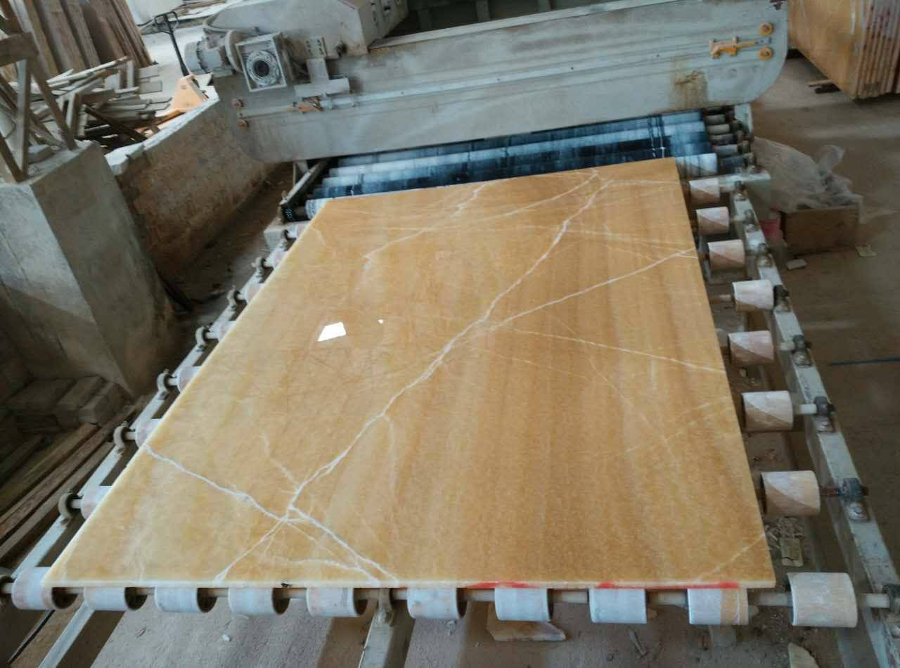 Polished 18mm thickness natural yellow onyx