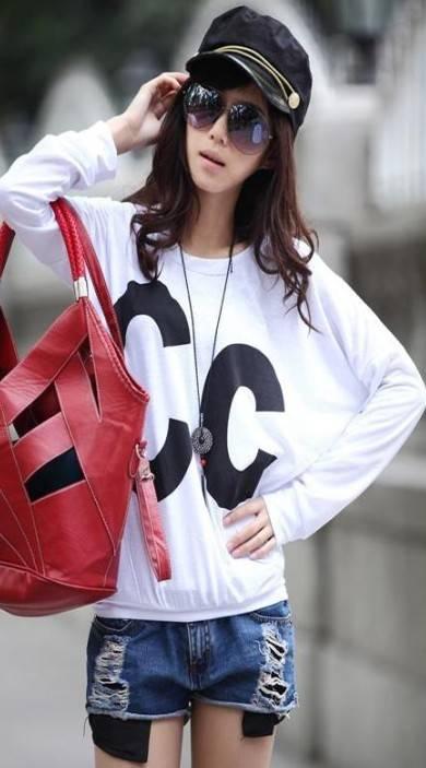 Korea Style CC Printed Long Sleeves Tee,Womens Tshirt