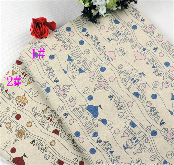 castle pattern printed linen cotton fabric textile for tablecloth