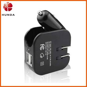 Dual USB Foldable Car Charger 2 in 1 Wall Charger
