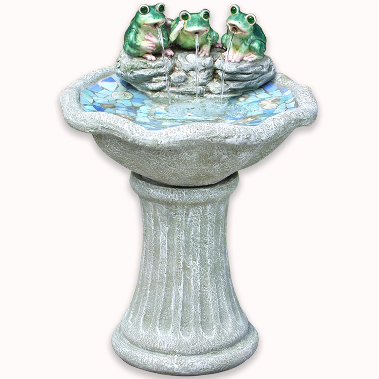Garden Decorative Hand Painted Resin Cute Frog Water Fountain