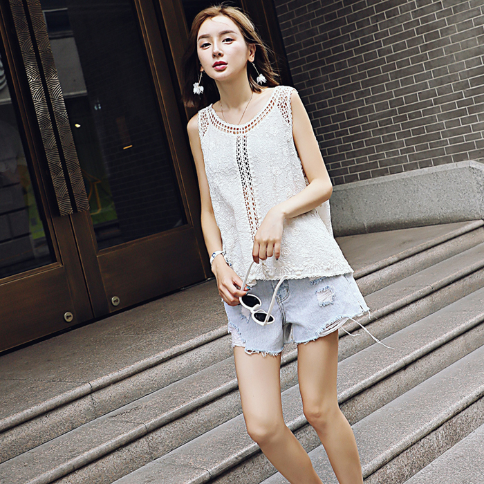 Sleeveless lace wild ladies coat lace embroidery wild summer explosion paragraph casual wild lace sh