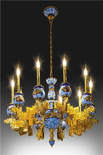 """""""Phoenix Legend"""" Cloisonne Ceiling Lamp"""