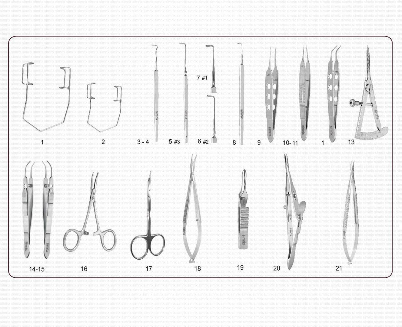 Strabismus Surgery Set 21pieces , with protective case. Fully Passivated