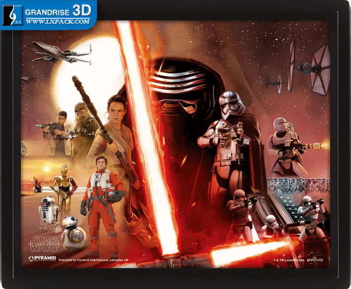 Star Wars The Force Awakens Rey Movie Lenticular Poster Printing 3D Effect Printing