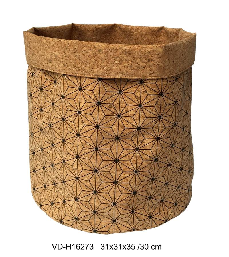 Storage Bags / Cork Tote Laundry Basket Living Room & Bath Room Storage Accessories Nature Material