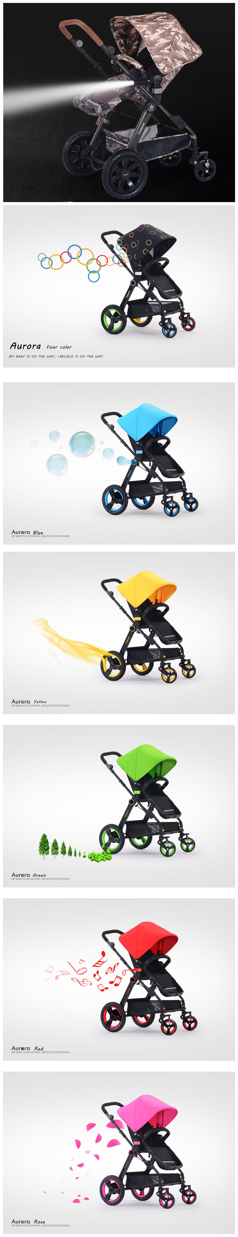 Softextile polyester materia Baby Stroller/Deluxe High quality baby carriage