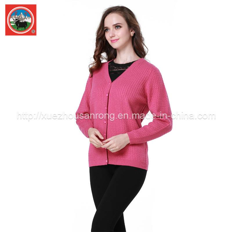 Ladies' knitted cardigan/pullover yak wool/cashmere dress