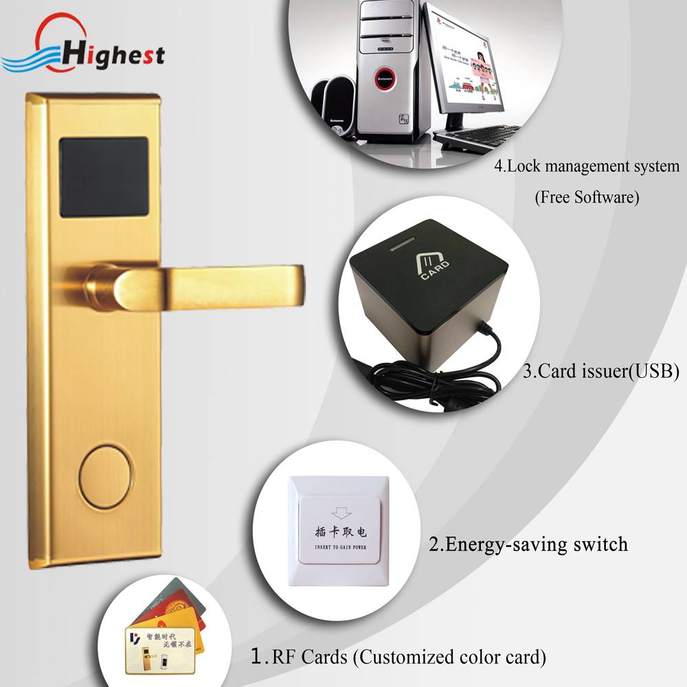 2015 New stainless steel High Quality Electronic RFID card hotel door lock