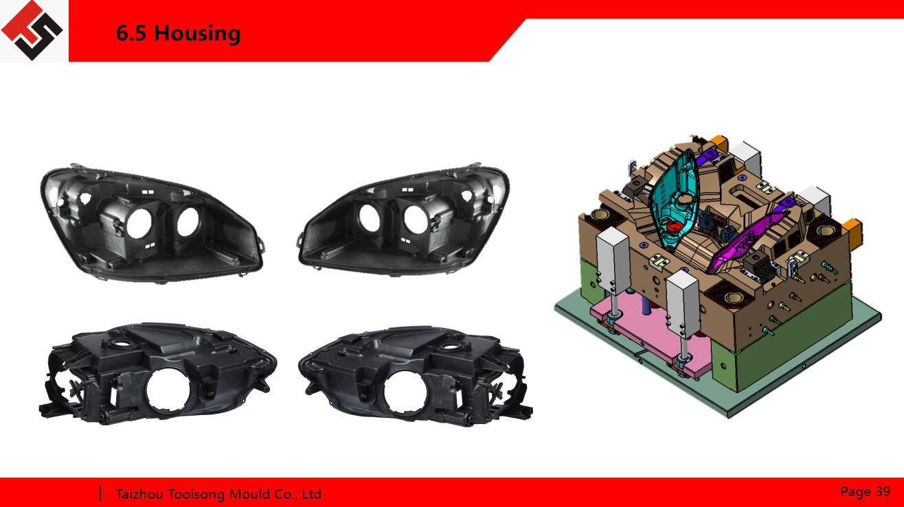 vehicle headlamp housing mold with hot runner injection system