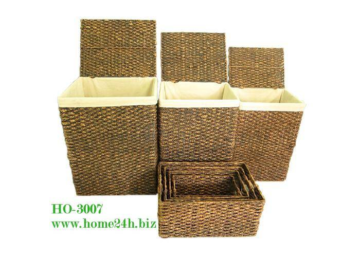 Best selling Water Hyacinth Woven Laundry Storage Baskets