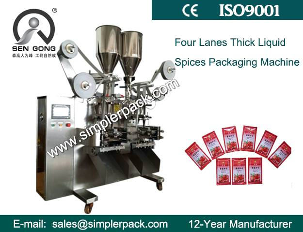 Automatic Four Lanes Thick Liquid Spices Packaging Machine