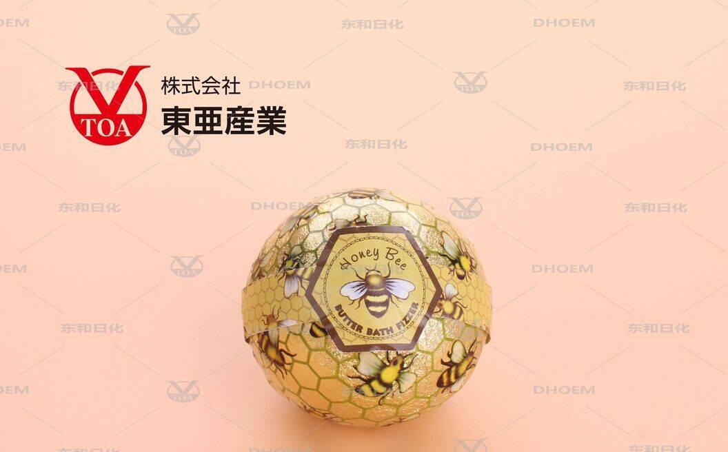 OEM 80g honey bee round Bath Bombs with mascot doll