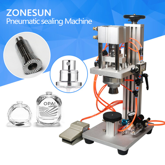 ZONESUN Pneumatic Perfume Bottle Crimping Machine Capping Machine Lid Cap Locking Machine