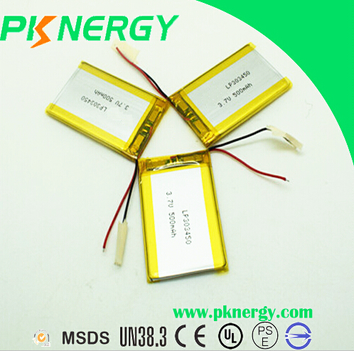 Shenzhen Factory Rechargeable li-ion battery 303450 3.7v 500mah lipo battery