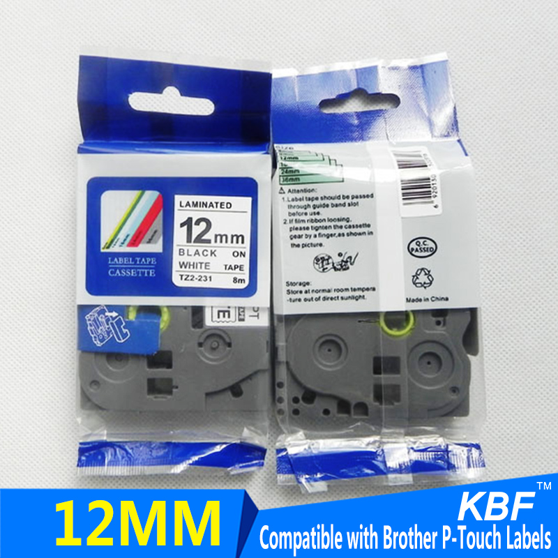 Best seller Compatible Brother label tape 12mm black on white tze-231