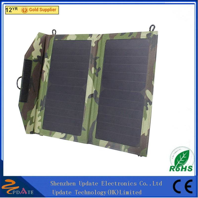 10W 5V Portable Foldable Solar Power Charger with Dual USB Output for Camping